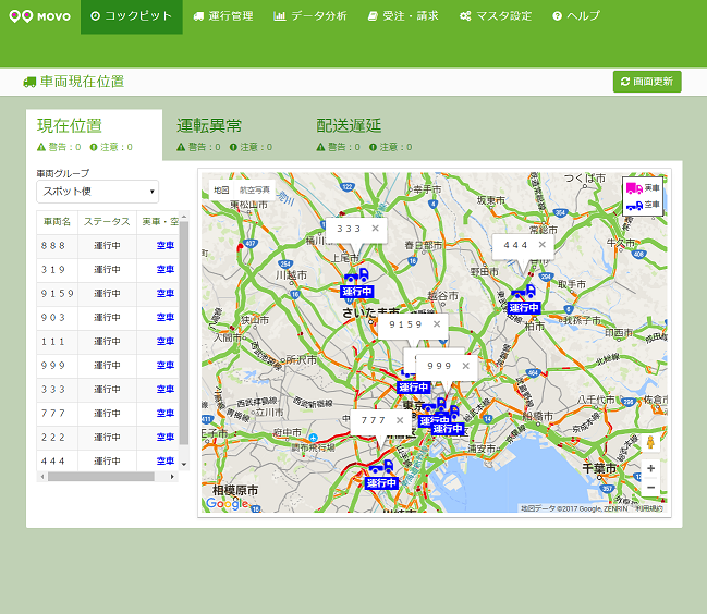 車両位置情報,現在位置,MOVO,動態管理,クラウド